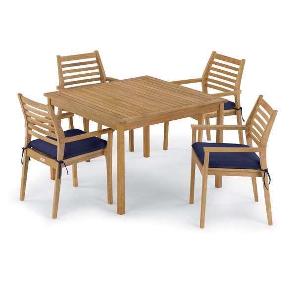 Crosslin 5 Piece Dining Set with Cushions by Rosecliff Heights
