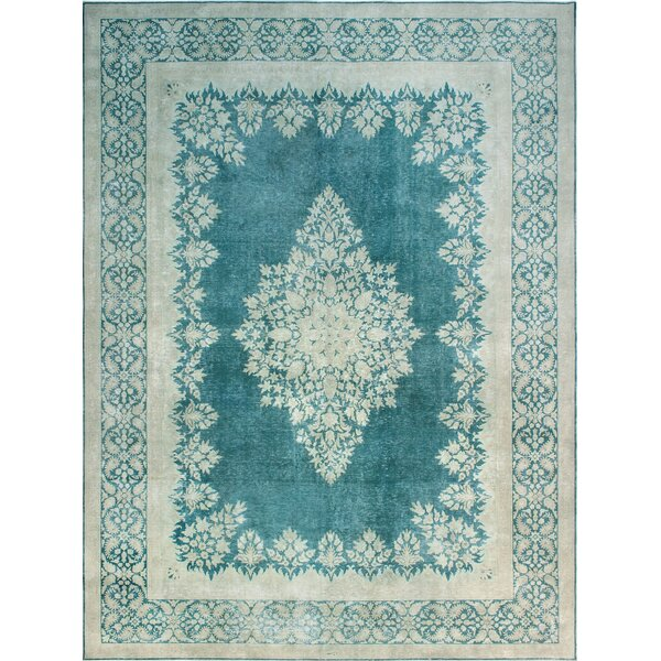 One-of-a-Kind Millner Distressed Cindy Hand-Knotted Wool Blue Are Rug by Bloomsbury Market