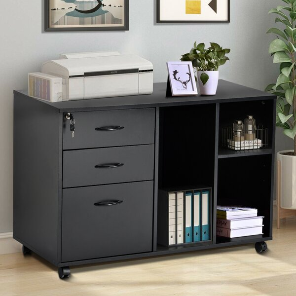 Office 3-Drawer Mobile Lateral Filing Cabinet