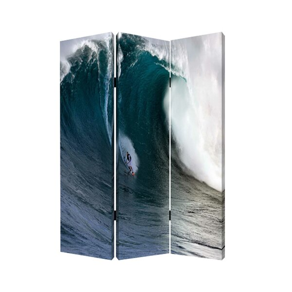Horacia Wave Canvas And Wood 3 Panel Room Divider By Latitude Run