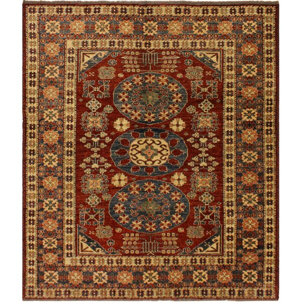 One-of-a-Kind Ayla Super Kazak Hand-Knotted Wool Blue/Rust Area Rug by Astoria Grand