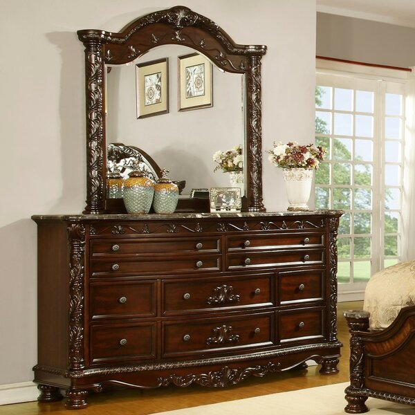 Mikesell 10 Drawer Double Dresser with Mirror by Astoria Grand