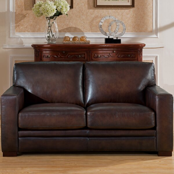 Mcdonald Leather Loveseat By World Menagerie Best #1