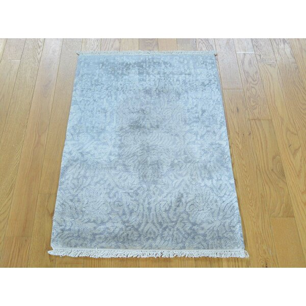 One-of-a-Kind Benedict Art Hand-Knotted Grey Silk Area Rug by Isabelline