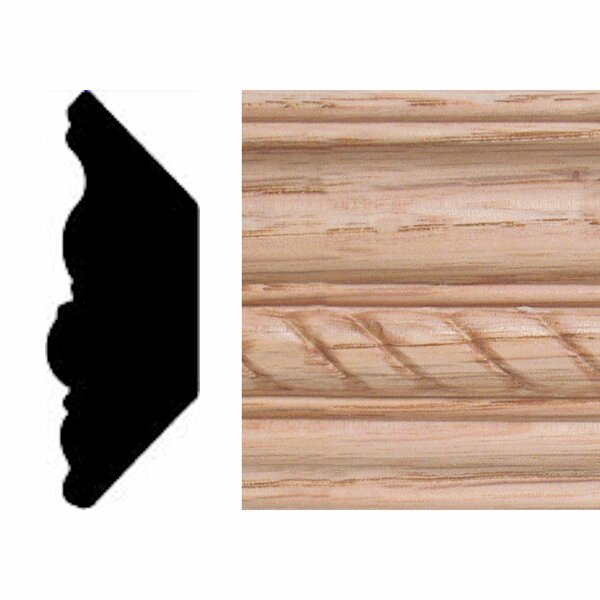 13/16 in. x 2-11/32 in. x 8 ft. Oak Emboss Rope Crown Moulding by Manor House