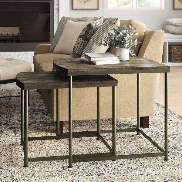 Outdoor Furniture Leone 2 Piece Solid Wood Nesting Tables