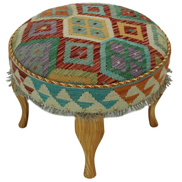 Straub Kilim Upholstered Handmade Ottoman by Bloomsbury Market