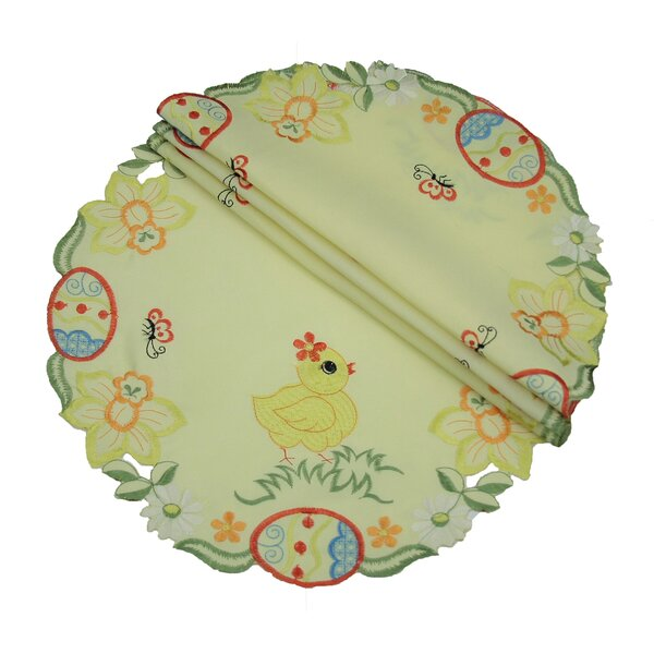 Spring Baby Chicks Round Doily (Set of 4) by Xia Home Fashions