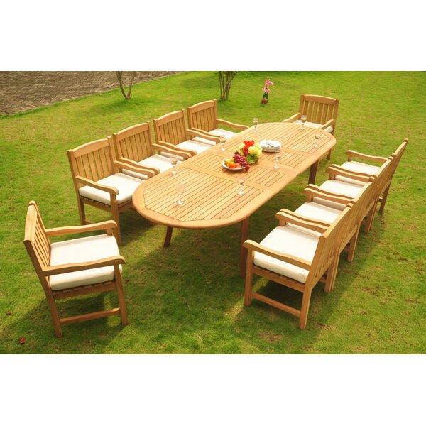 Zain Luxurious 11 Piece Teak Dining Set by Rosecliff Heights