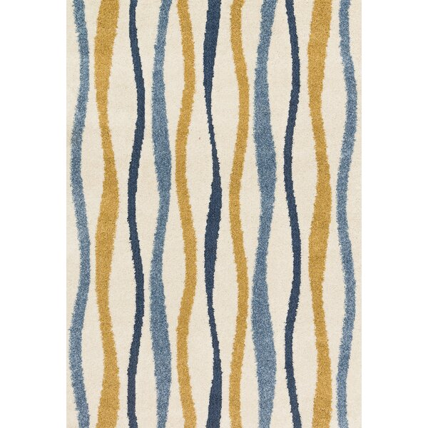 Dania Blue/Beige/Orange Area Rug by Wrought Studio