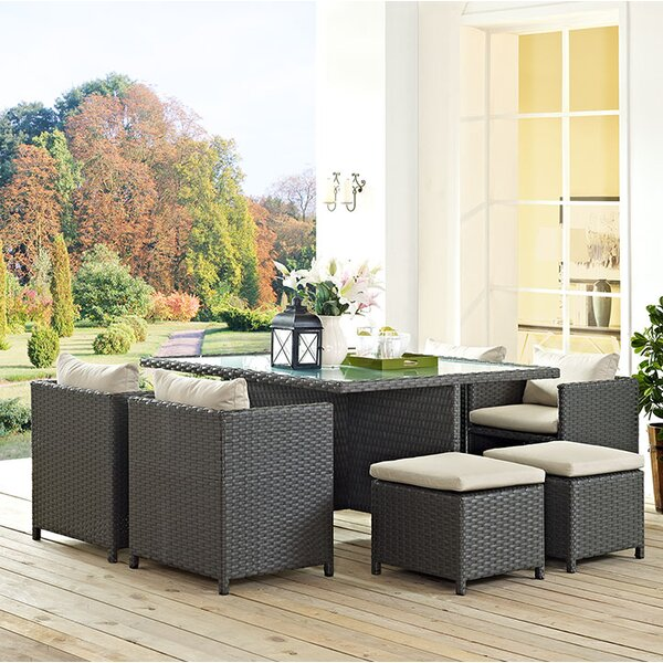 Tripp 9 Piece Dining Set with Cushion by Brayden Studio