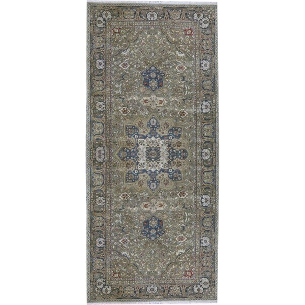 Hand-Knotted Wool Green/Beige Rug