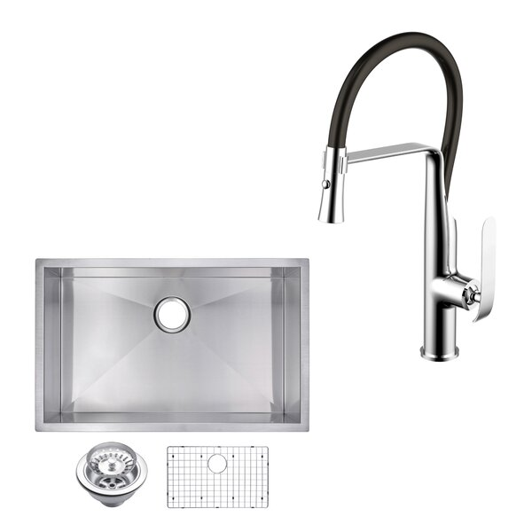 All-in-One Stainless Steel 32 L x 19 W Undermount Kitchen Sink with Faucet by dCOR design