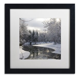 Fresh Snowfall on the River by Kurt Shaffer Framed Photographic Print by Trademark Fine Art