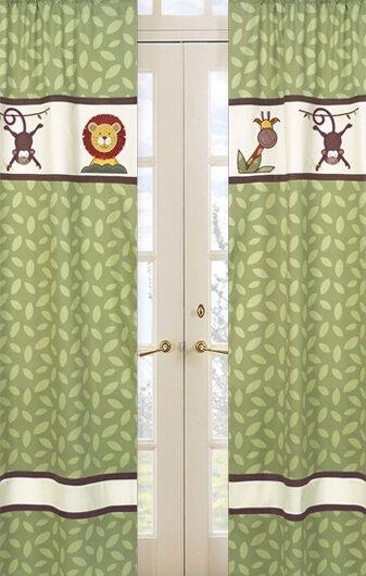 Jungle Time Wildlife Semi-Sheer Rod pocket Curtain Panels (Set of 2) by Sweet Jojo Designs