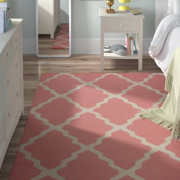 Sherryl Hand-Woven Wool Baby Pink Area Rug by Viv + Rae