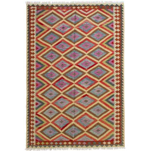 Joanna Handwoven Flatweave 5'7 x 8'4 Wool Pink/Yellow/Red Area Rug by Isabelline