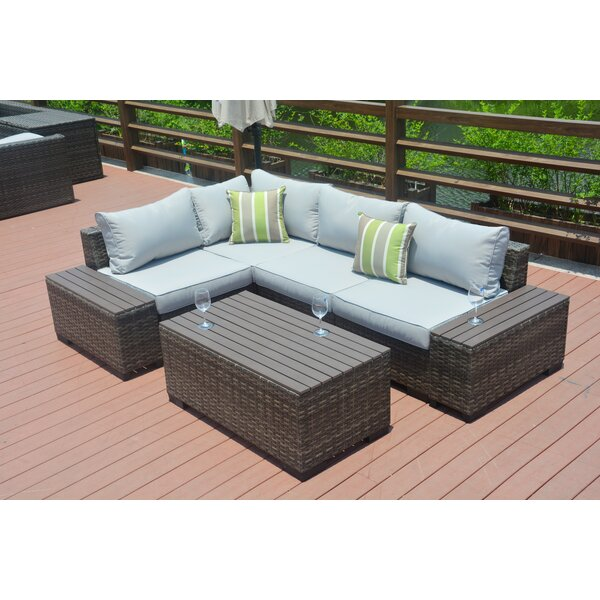 Michell 7 Piece Rattan Sectional Seating Group with Cushions by Latitude Run