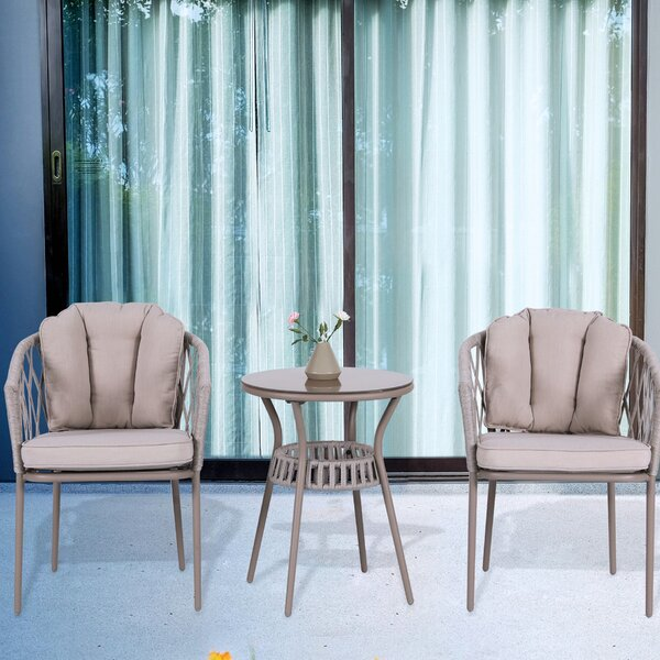 Zelie 3 Piece Bistro Set with Cushions by Bungalow Rose