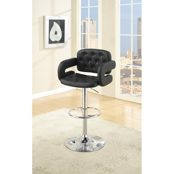 Charters Towers Tufted Seat and Back Adjustable Height Bar Stool by Ebern Designs