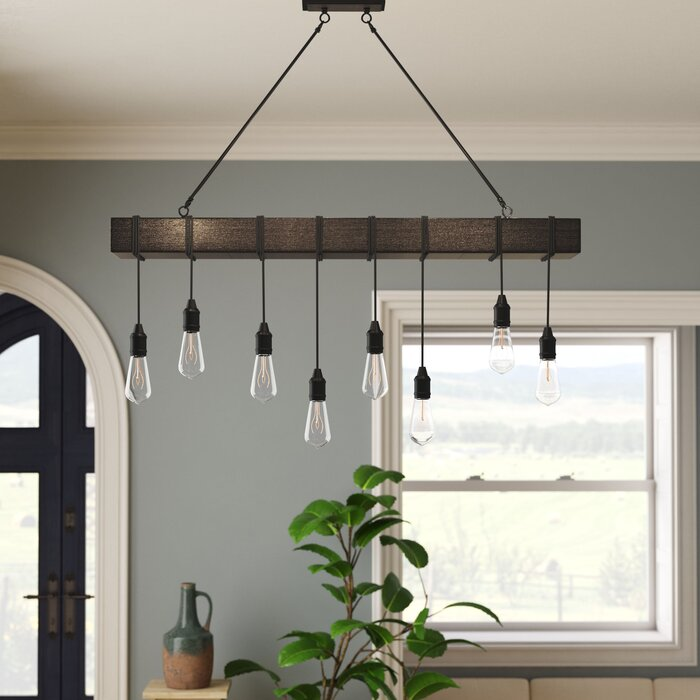 Wyckhoff 8 Light Kitchen Island Bulb Pendant With Nylon Accents