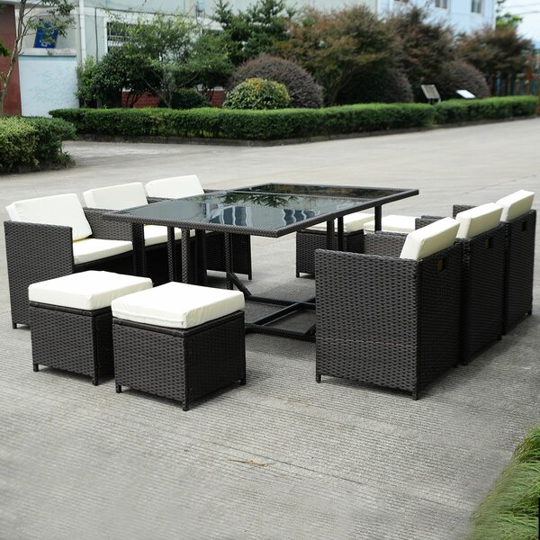 Geoffe Outdoor Dining 11 Piece Rattan Multiple Chairs Seating Group with Cushions by Latitude Run