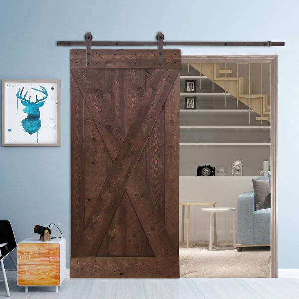 Valencia X Solid Wood Panelled Pine Slab Interior Barn Door by Gracie Oaks
