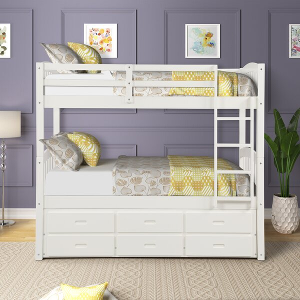 Huxley Twin Bunk Bed with Trundle and Drawers by Harriet Bee