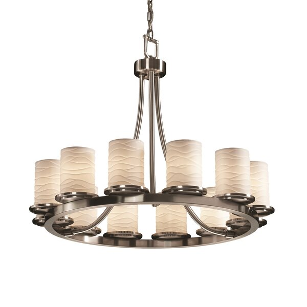 Marseille 12 - Light Shaded Wagon Wheel Chandelier by World Menagerie World Menagerie