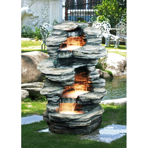 Resin Rock 4 Level Fountain with Light by Hi-Line Gift Ltd.