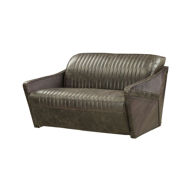 Genuine Leather Dietrick Loveseat by 17 Stories