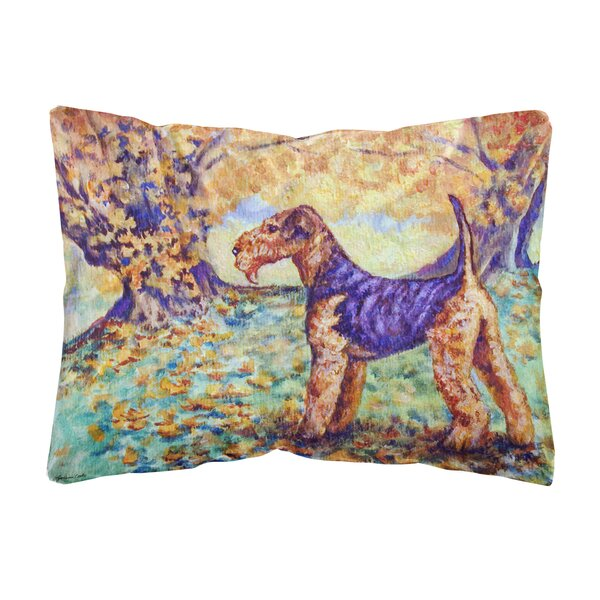 Mckee Autumn Airedale Terrier Fabric Indoor/Outdoor Throw Pillow by Winston Porter
