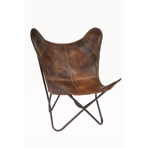 Safari Leather Riveted Butterfly Lounge Chair by F