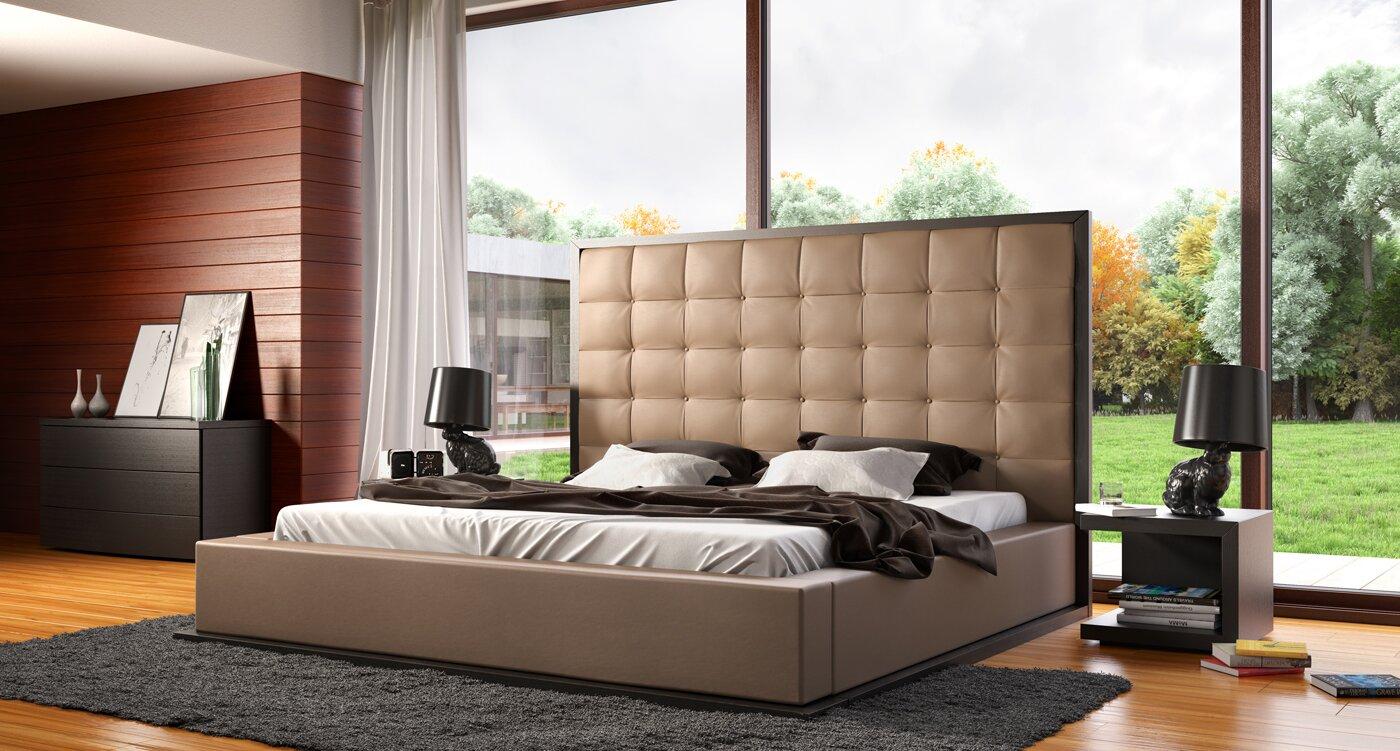 Madrid Taupe Beige Ultra Modern Living Room Furniture 3: Modloft Ludlow Upholstered Platform Bed & Reviews