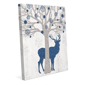 'Glamour Blue Reindeer' Graphic Art on Wrapped Canvas