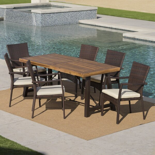 Avebury Outdoor 7 Piece Dining Set with Cushions by Charlton Home
