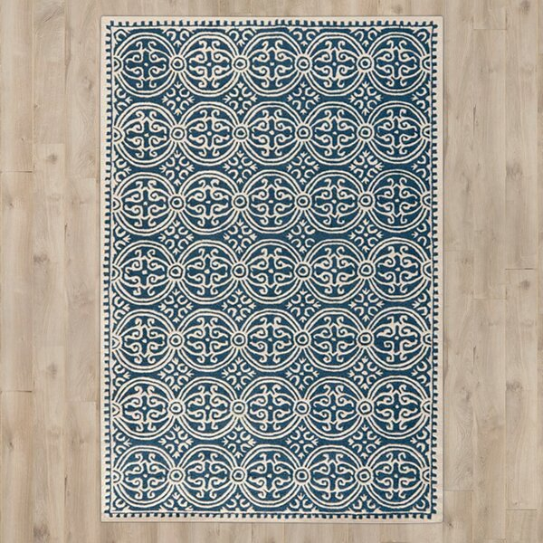 Fairburn Hand-Tufted Wool Navy Area Rug by House of Hampton