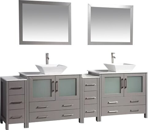 Karson Framed 36 Double Bathroom Vanity Set with Mirror by Wade Logan