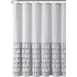 Peeples Ruffle Shower Curtain. Gray Light Pink Taupe White