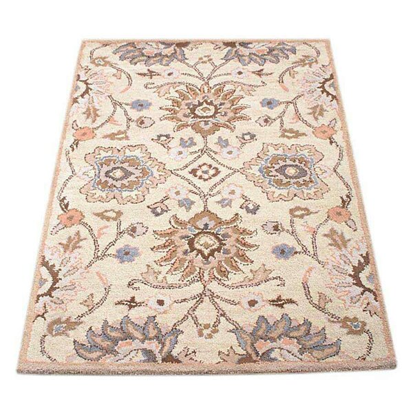 Neida Hand-Tufted Wool Beige/Ivory Area Rug by World Menagerie