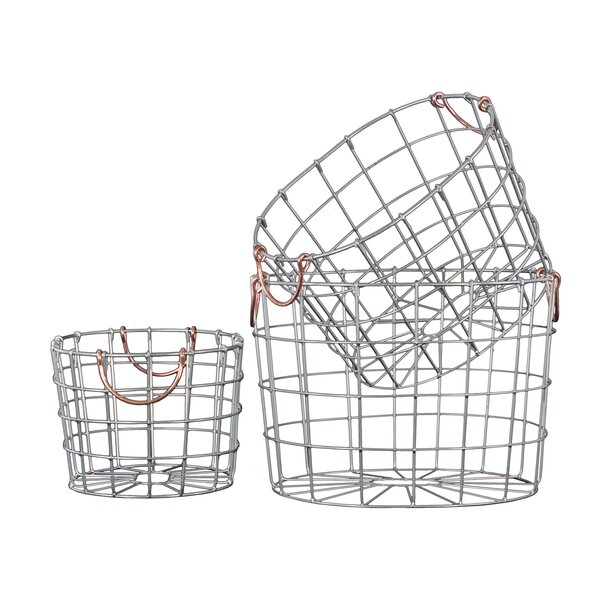 Albin 3 Piece Round Nesting Wire Basket Set by Greyleigh