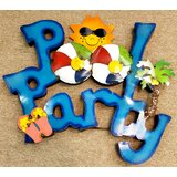 3D Pool Party with Sun Metal Words byLSG