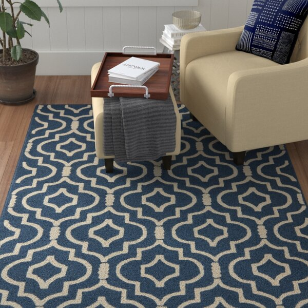 Darla Wool Blue Navy/Ivory Area Rug by Winston Porter