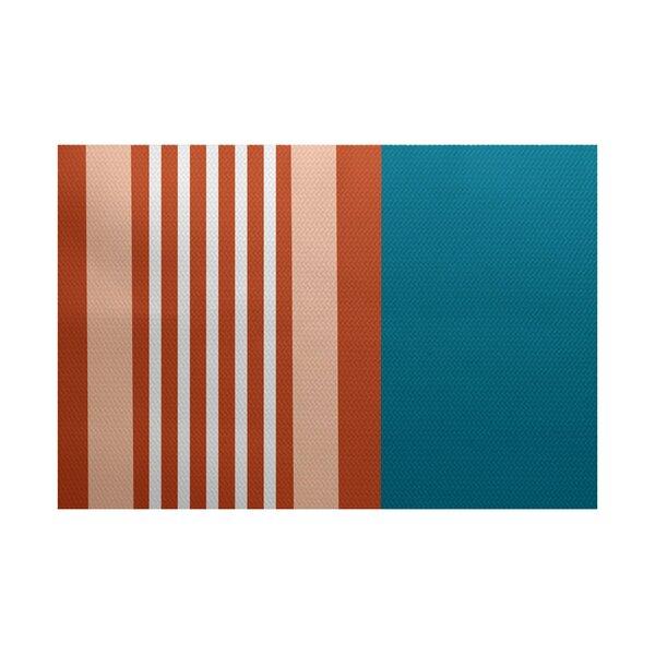 Bartow Blue/Orange Indoor/Outdoor Area Rug by Breakwater Bay