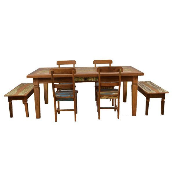 Goulart 7 Piece Solid Wood Dining Set by Bloomsbury Market Bloomsbury Market