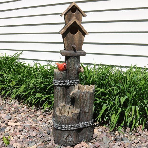 Polyresin 2 Story Birdhouse with Cardinal Outdoor Water Fountain by Wildon Home ®