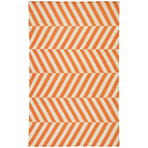Melton Hand-Woven Orange Area Rug by Wrought Studio