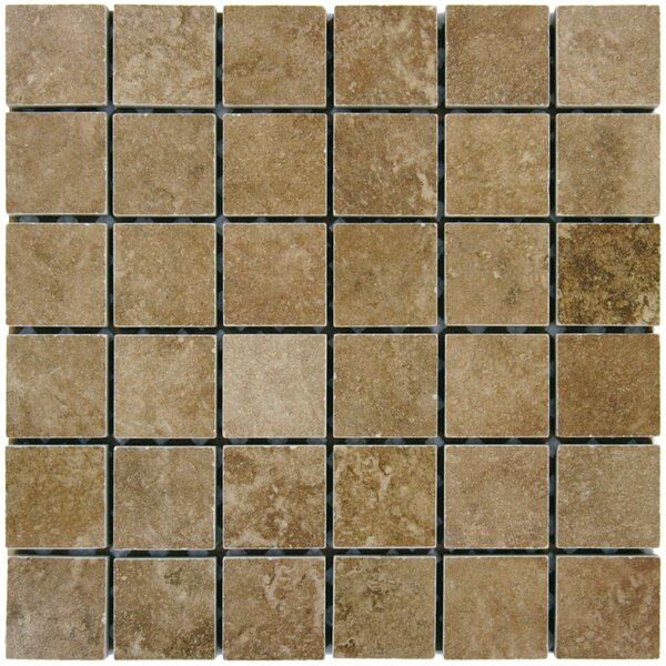 Travertine 2 x 2 Porcelain Mosaic Tile in Walnut by MSI