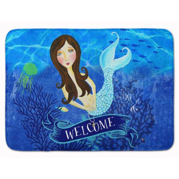 Welcome Mermaid Rectangle Microfiber Non-Slip Bath Rug