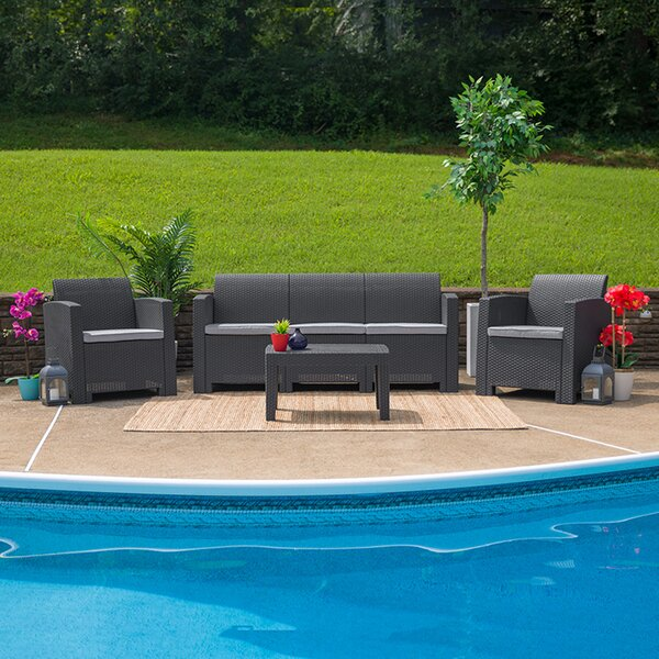 Tigridie 4 Piece Rattan Sofa Seating Group with Cushions by Latitude Run